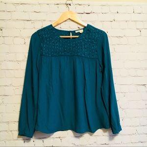 Meadow rue teal blouse